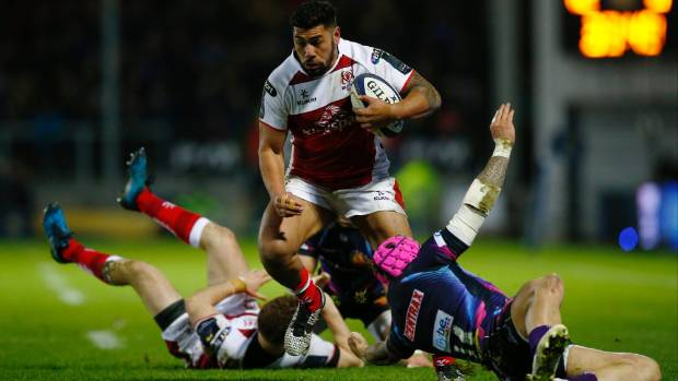 Charles Piutau breaks through the Exeter Chiefs defence to score a try for his Irish province Ulster.