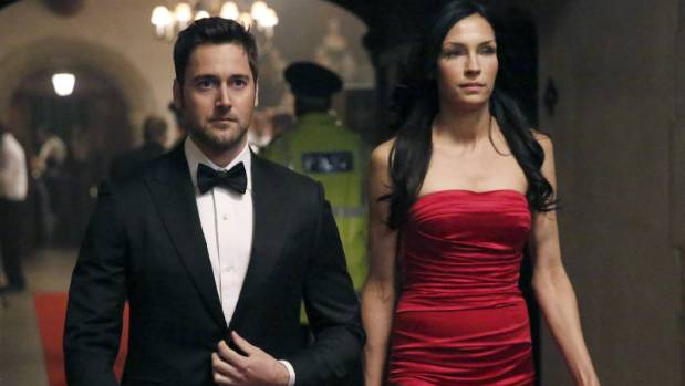 Ryan Eggold and Famke Janssen in The Blacklist: Redemption.