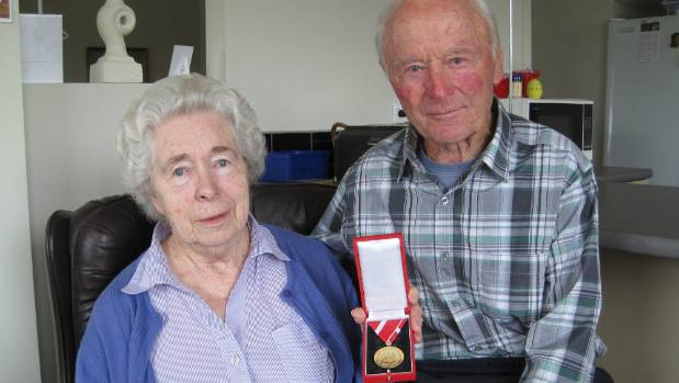 Willi and his wife Edna in 2013 with the medal he received from the Austrian government for his services to Austria ...