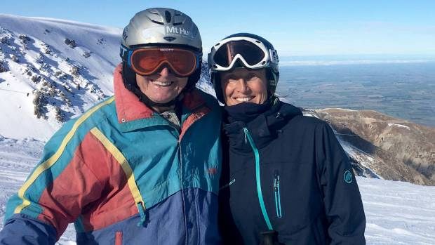 Willi Huber with Winter Olympic medallist Annelise Coberger on Mt Hutt.