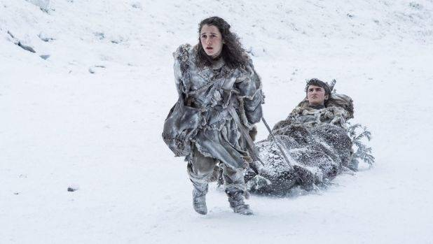 Meera Reed (Ellie Kendrick) and Bran Stark (Isaac Hempstead-Wright) tough it out in Game Of Thrones.