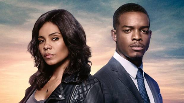 Sanaa Lathan and Stephan James in Shots Fired.