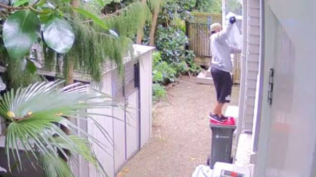 The man entered the house by hopping onto a rubbish bin and through a window, before making off with two pillowcases ...