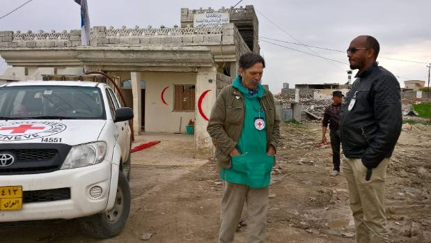 Rolands Selis with hospital project manager Issa Dahir near Mosul Iraq