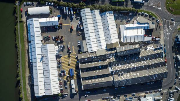 Aerial view of Port Domain Business Park in Seaview, Lower Hutt.