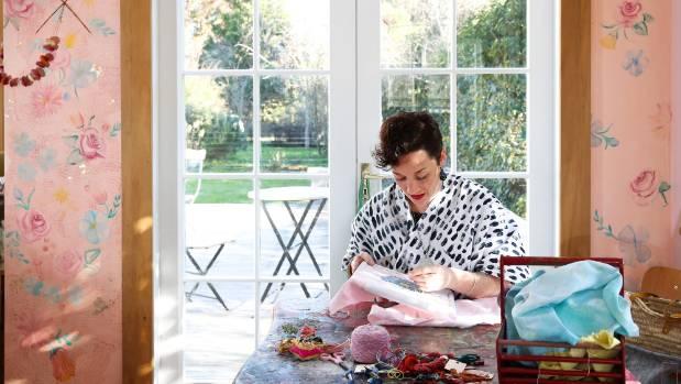 Woods has art-life balance, with her studio space is right next door to her children's school-house.