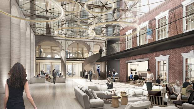 An atrium at street level will include restaurants and retail spaces, and incorporate elements of the previous ...