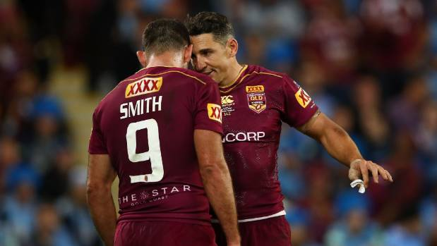 Queensland's Billy Slater (right) and Cameron Smith talk during Game 3 of the State Of Origin series.