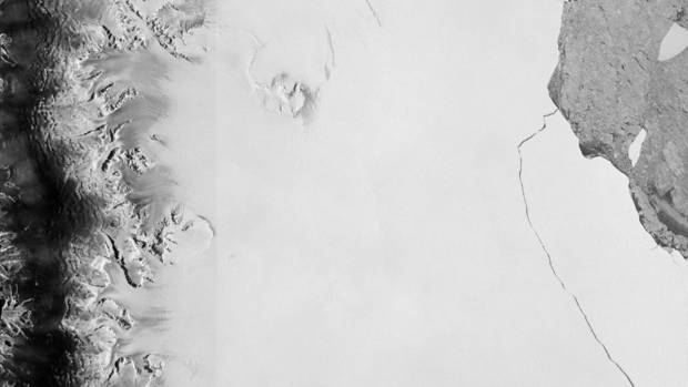 A section of an iceberg - about 6000 sq km - broke away as part of the natural cycle of iceberg calving off the Larsen-C ...