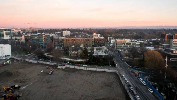 The gaping convention centre site dominates the foreground of the view from the 11th floor of the Crowne Plaza in ...