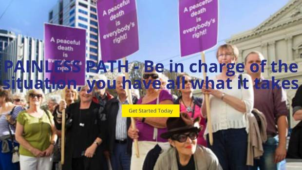 The Painless Path website uses a Stuff picture of supporters protesting outside the assisted suicide case of Wellington ...