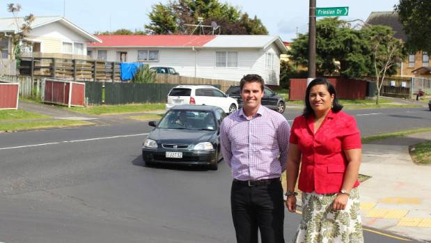 Back where it began: Hamish Mackie and Mangere-Otahuhu Local Board's Lydia Sosene in 2013 announcing the project.