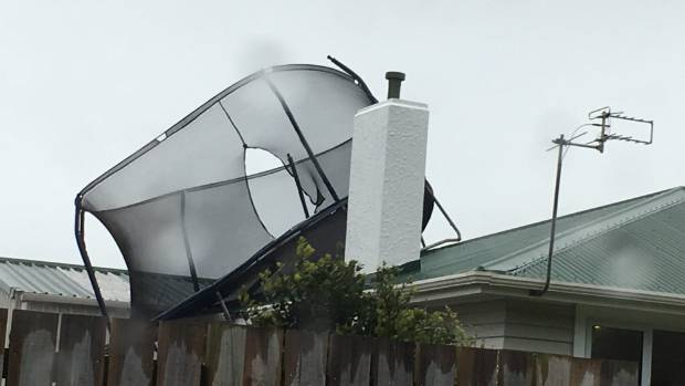 Powerful winds blew a trampoline onto the roof of a house in Patea.