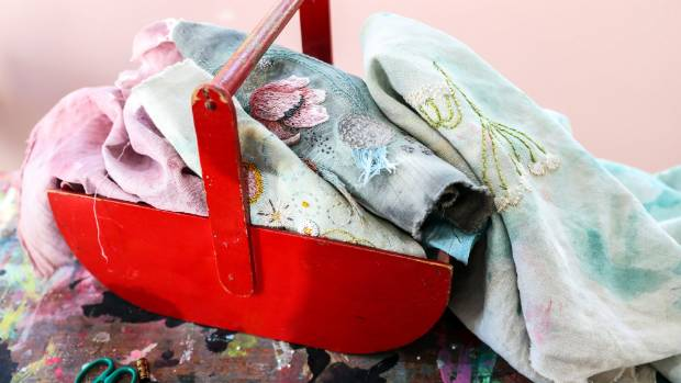 Fabric and paint are never far away in Woods' Upper Moutere studio.
