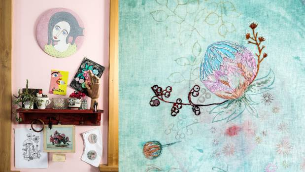 Left: The studio-gallery is peaceful and feminine, with millennial pink walls. Right: A close look at one of Woods' ...