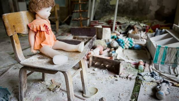 Vicki and Paul saw dolls in the preschool, an empty swimming pool and an abandoned amusement park in  Pripyat.