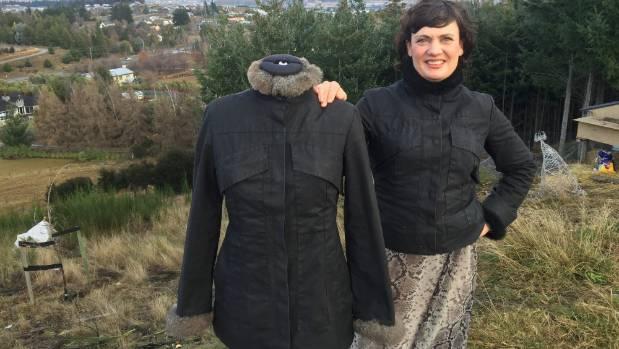 Wanaka designer Sue James-Moore with her oilskin jacket.