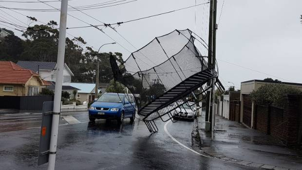 A trampoline relocates in the wind, on Ferry St, near Wellington's Seatoun tunnel, on Thursday last week.