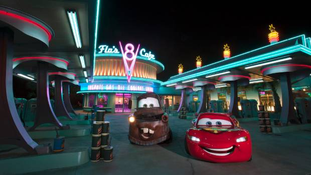 Cars Land brings the film Cars to life with replica locations as seen in the animated film, such as Flo's Diner.