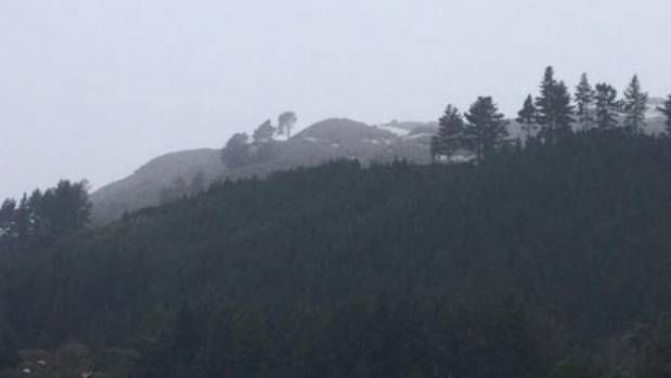 A smattering of snow on Mt Ngongotaha in Rotorua.
