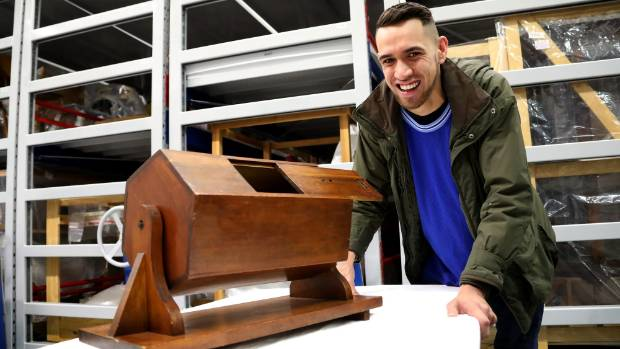 Wellington-based artist Kauri Hawkins, 22, with the ballot box, file number GH003641,