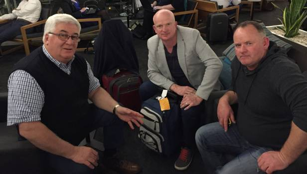 Ross Thomson, Roger Harper and Simon Gregg wait patiently at Auckland airport after almost 28 hours in transit.