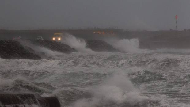 Hurricane force winds came in from Cook Strait, sending massive waves on to the Wellington coast. This was the scene at ...