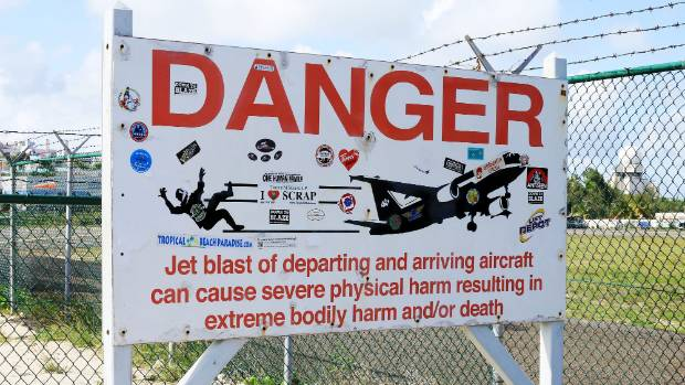 One of the jet blast warning signs posted on Maho Beach, near the runway for Princess Juliana International Airport.
