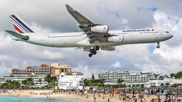 Maho Beach, St Maarten, where Gayleen McEwan was killed when a jet blast threw her from a fence.
