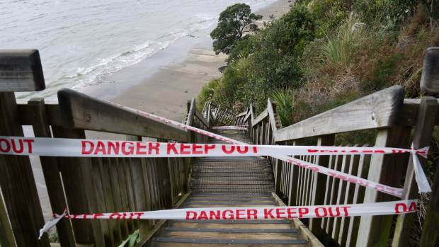 Damage to Kennedy Park steps in Castor Bay, Auckland, caused by storm.