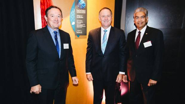 (L-R) EarthCheck CEO Stewart Moore, former NZ PM Sir John Key, and Managing Director, The Langham Hotel, Auckland, Franz ...