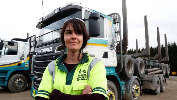 Tania Bushchl, a log truck driver for Waimea Contract Carriers, loves being out on the road.