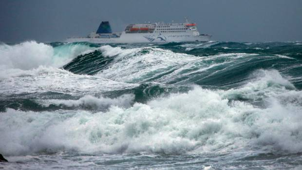 One of the last Interislander ferries heading towards Picton last Wednesday before high winds and swells cancelled ...