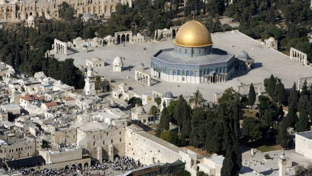 An aerial view shows the Dome of the Rock, (right) on the compound known to Muslims as the Noble Sanctuary and to Jews ...