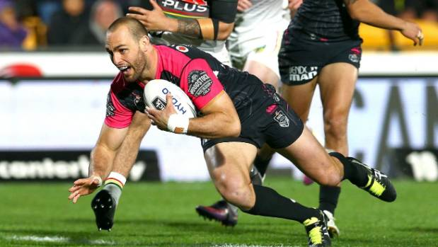 "Simon Mannering scores the opening try against the Panthers at ""Manu Vatuvei Stadium""."
