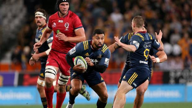 Highlanders first-five eighth Lima Sopoaga spots a gap against the Reds in Dunedin on Friday night.