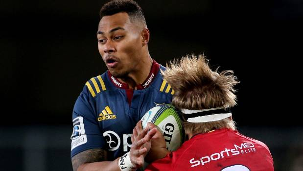Highlanders wing Tevita Li scored one of his team's tries against the Reds in Dunedin on Friday night.