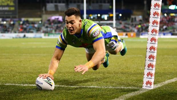 Nikola Cotric dives over in the corner to score the match's opening try in the sixth minute of Canberra's win over the ...