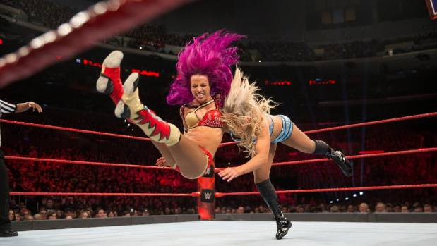 """Sasha Banks, left, is proud to be playing her part in a """"women's revolution"""" on the international sporting stage."""