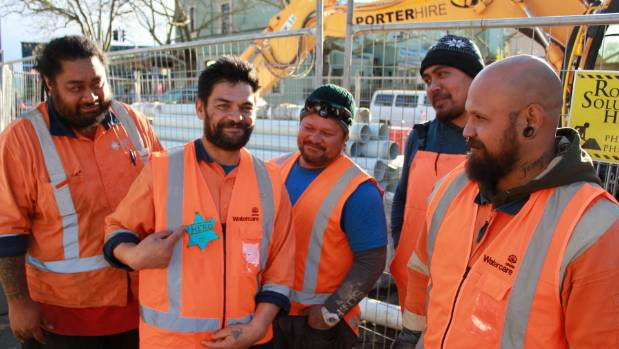 The group of Watercare sub-contractors - including Oscar Kightley's nephew Clynton Kightley, right - tackled an alleged ...