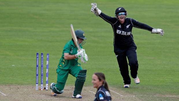 New Zealand wicketkeeper Rachel Priest celebrates after Amelia Kerr takes a wicket against Pakistan