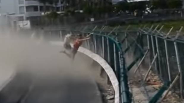 A YouTube video shows a woman being flung across the road and into a kerbside at St Maarten in 2012.