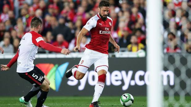 Olivier Giroud faces an uncertain future at Arsenal, but started up front against the Wanderers in Sydney.