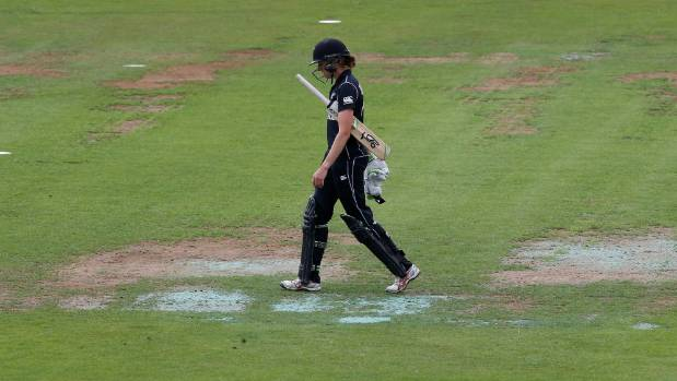 Amy Satterthwaite trudges off after being dismissed.