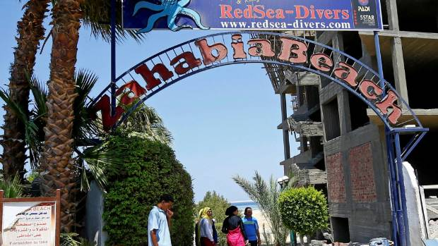 The entrance to the beach at the Zahabia Resort in Egypt, where the stabbings happened.