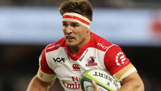 Lions captain Jaco Kriel carries the ball in the match against the Sharks.
