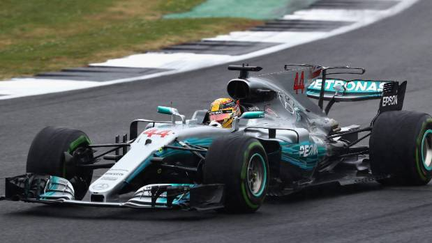 Lewis Hamilton drives Mercedes car 44 in qualifying at the British Grand Prix.