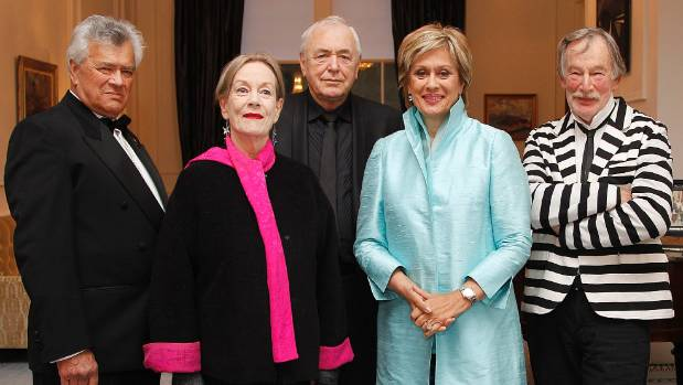 NZ Arts Foundation Icon Awards 2013 recipients from left, Cliff Whiting, Jacqueline Fahey, Geoff Murphy, Dame Kiri Te ...