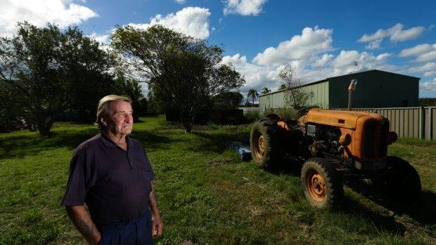 Warren Munro, who has had prostate cancer, on his Cabbage Tree Road property, near Newcastle in NSW.