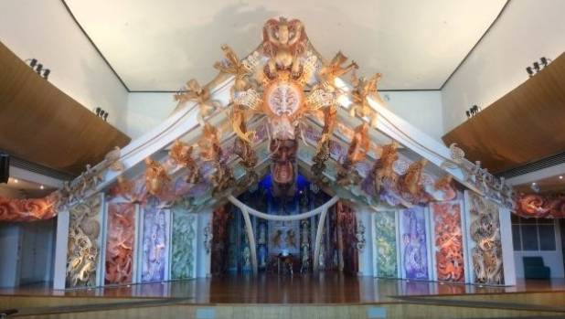 Cliff Whiting directed the team who produced the elaborated carved Te Hono ki Hawaiki, the meeting house at the Museum ...